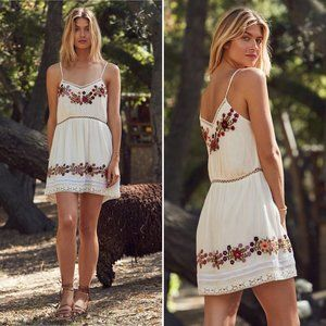 Tularosa Cream Floral Embroidery London Slip Dress